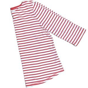 Vibrant Red & White Striped 3/4 Sleeve Top